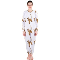 Cute Cats Seamless Wallpaper Background Pattern OnePiece Jumpsuit (Ladies)