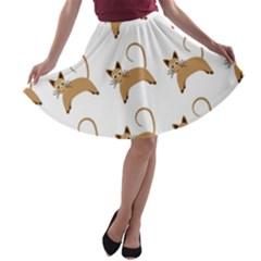 Cute Cats Seamless Wallpaper Background Pattern A Line Skater Skirt