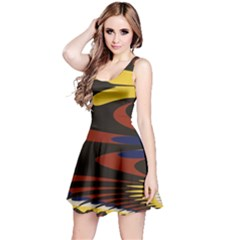 Peacock Abstract Fractal Reversible Sleeveless Dress