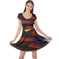 Peacock Abstract Fractal Cap Sleeve Dresses