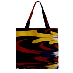 Peacock Abstract Fractal Zipper Grocery Tote Bag