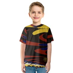 Peacock Abstract Fractal Kids  Sport Mesh Tee