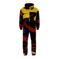 Peacock Abstract Fractal Hooded Jumpsuit (kids)