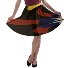 Peacock Abstract Fractal A Line Skater Skirt