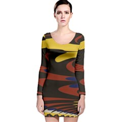 Peacock Abstract Fractal Long Sleeve Velvet Bodycon Dress