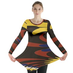 Peacock Abstract Fractal Long Sleeve Tunic