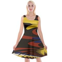 Peacock Abstract Fractal Reversible Velvet Sleeveless Dress