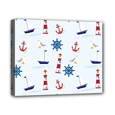 Seaside Nautical Themed Pattern Seamless Wallpaper Background Canvas 10  x 8