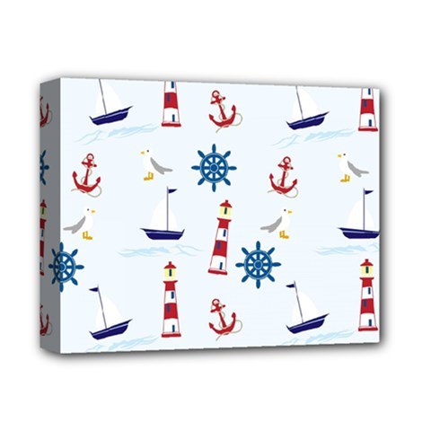Seaside Nautical Themed Pattern Seamless Wallpaper Background Deluxe Canvas 14  X 11
