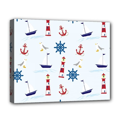 Seaside Nautical Themed Pattern Seamless Wallpaper Background Deluxe Canvas 20  x 16