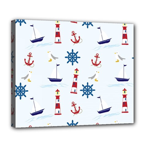 Seaside Nautical Themed Pattern Seamless Wallpaper Background Deluxe Canvas 24  X 20
