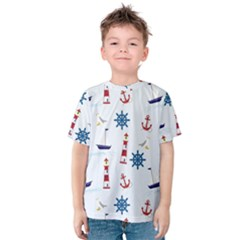 Seaside Nautical Themed Pattern Seamless Wallpaper Background Kids  Cotton Tee