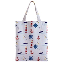 Seaside Nautical Themed Pattern Seamless Wallpaper Background Classic Tote Bag
