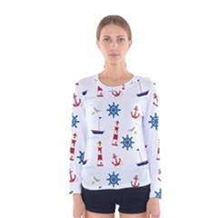 Seaside Nautical Themed Pattern Seamless Wallpaper Background Women s Long Sleeve Tee