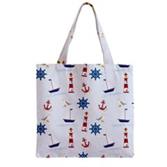 Seaside Nautical Themed Pattern Seamless Wallpaper Background Zipper Grocery Tote Bag
