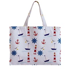 Seaside Nautical Themed Pattern Seamless Wallpaper Background Zipper Mini Tote Bag