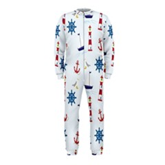 Seaside Nautical Themed Pattern Seamless Wallpaper Background OnePiece Jumpsuit (Kids)
