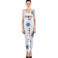 Seaside Nautical Themed Pattern Seamless Wallpaper Background Onepiece Catsuit