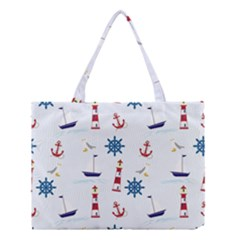 Seaside Nautical Themed Pattern Seamless Wallpaper Background Medium Tote Bag