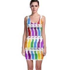 Rainbow Colorful Cats Wallpaper Pattern Sleeveless Bodycon Dress