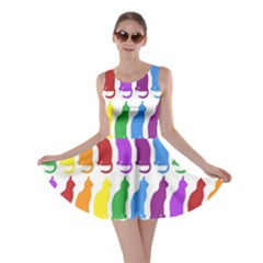Rainbow Colorful Cats Wallpaper Pattern Skater Dress