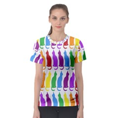 Rainbow Colorful Cats Wallpaper Pattern Women s Sport Mesh Tee