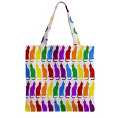 Rainbow Colorful Cats Wallpaper Pattern Grocery Tote Bag