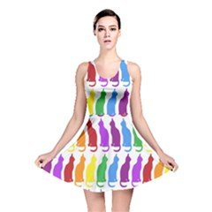 Rainbow Colorful Cats Wallpaper Pattern Reversible Skater Dress