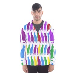 Rainbow Colorful Cats Wallpaper Pattern Hooded Wind Breaker (Men)
