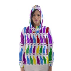 Rainbow Colorful Cats Wallpaper Pattern Hooded Wind Breaker (women)