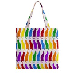 Rainbow Colorful Cats Wallpaper Pattern Zipper Grocery Tote Bag
