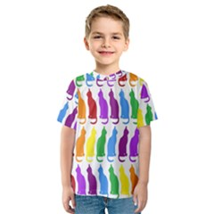 Rainbow Colorful Cats Wallpaper Pattern Kids  Sport Mesh Tee