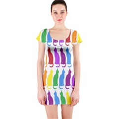 Rainbow Colorful Cats Wallpaper Pattern Short Sleeve Bodycon Dress