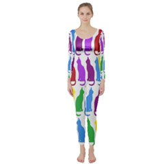 Rainbow Colorful Cats Wallpaper Pattern Long Sleeve Catsuit