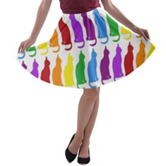 Rainbow Colorful Cats Wallpaper Pattern A-line Skater Skirt