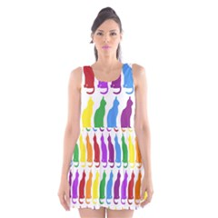 Rainbow Colorful Cats Wallpaper Pattern Scoop Neck Skater Dress