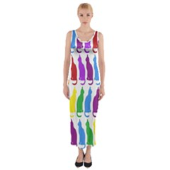 Rainbow Colorful Cats Wallpaper Pattern Fitted Maxi Dress