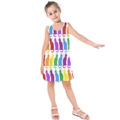 Rainbow Colorful Cats Wallpaper Pattern Kids  Sleeveless Dress