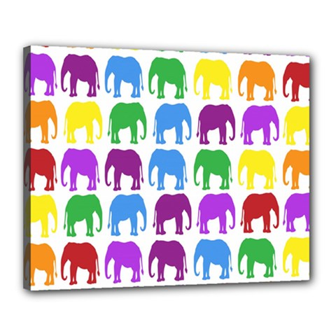 Rainbow Colors Bright Colorful Elephants Wallpaper Background Canvas 20  X 16