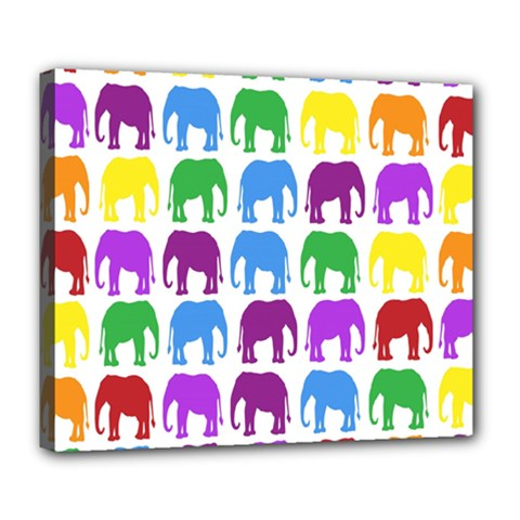 Rainbow Colors Bright Colorful Elephants Wallpaper Background Deluxe Canvas 24  X 20