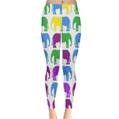 Rainbow Colors Bright Colorful Elephants Wallpaper Background Leggings