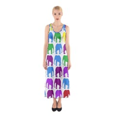 Rainbow Colors Bright Colorful Elephants Wallpaper Background Sleeveless Maxi Dress