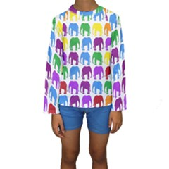 Rainbow Colors Bright Colorful Elephants Wallpaper Background Kids  Long Sleeve Swimwear