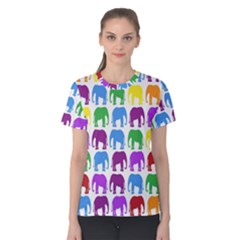 Rainbow Colors Bright Colorful Elephants Wallpaper Background Women s Cotton Tee