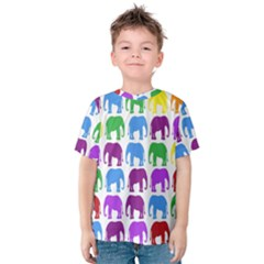 Rainbow Colors Bright Colorful Elephants Wallpaper Background Kids  Cotton Tee
