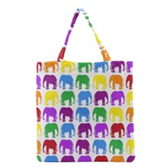 Rainbow Colors Bright Colorful Elephants Wallpaper Background Grocery Tote Bag