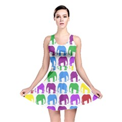 Rainbow Colors Bright Colorful Elephants Wallpaper Background Reversible Skater Dress
