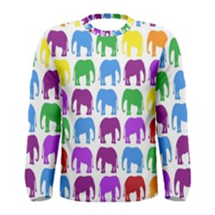 Rainbow Colors Bright Colorful Elephants Wallpaper Background Men s Long Sleeve Tee