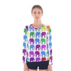 Rainbow Colors Bright Colorful Elephants Wallpaper Background Women s Long Sleeve Tee