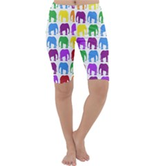 Rainbow Colors Bright Colorful Elephants Wallpaper Background Cropped Leggings